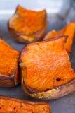 被烘烤的南瓜片 免版税库存照片