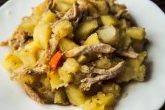 被烘烤的土豆用肉、红萝卜和葱 库存图片