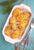 被烘烤的土豆用葱 免版税库存图片