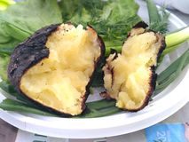 被烘烤的土豆 库存照片