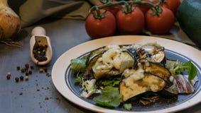 被烘烤的夏南瓜和茄子在冰沙拉洒与乳酪 免版税库存照片