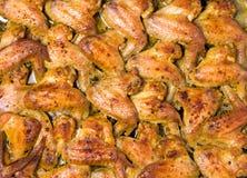 被烘烤的开胃鸡翼用香料 图库摄影