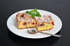 被烘烤的樱桃蛋白牛奶酥饼 免版税库存照片