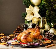 被烘烤的火鸡或chiken或圣诞节或新年感恩天空间文本的 库存图片