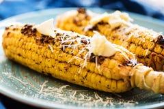 被烘烤的玉米用草本和熏制的辣椒粉 免版税库存照片