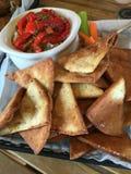 被烘烤的皮塔饼和Hummus 库存照片