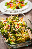 被烘烤的硬花甘蓝用蕃茄沙拉 免版税图库摄影