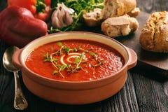 被烘烤的红辣椒奶油汤用大蒜和timian 库存照片