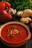 被烘烤的红辣椒奶油汤用大蒜和timian 免版税库存图片