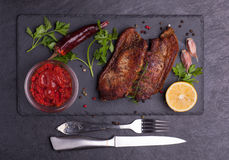 被烘烤的肉猪肉 免版税库存照片