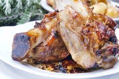 被烘烤的肉,猪肉指关节 免版税图库摄影
