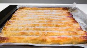 被烘烤的自创传统巴尔干盘burek 乳酪或肉馅饼 免版税图库摄影