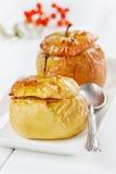 被烘烤的苹果用蜂蜜、凝乳、葡萄干和坚果在一块白色板材装饰了ashberry 免版税库存图片