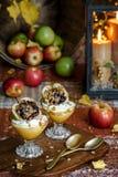 被烘烤的苹果计算机酸奶冷甜点 免版税库存图片