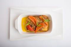 被烘烤的茄子用乳酪 免版税图库摄影