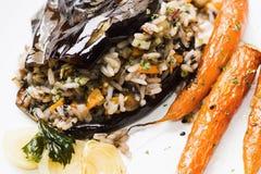 被烘烤的茄子用米、红萝卜和葱,特写镜头 库存图片