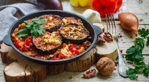 被烘烤的茄子用胡椒、大蒜、蕃茄和核桃 冷或热的开胃菜 库存图片