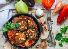 被烘烤的茄子用胡椒、大蒜、蕃茄和核桃 冷或热的开胃菜 库存照片