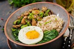 被烘烤的菜燕麦粥、鸡蛋和沙拉-蘑菇和抱子甘蓝 免版税库存图片