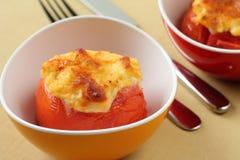 被烘烤的蕃茄用干酪 免版税库存照片