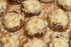 被烘烤的蘑菇蘑菇开胃菜充塞用帕尔马干酪用硬皮覆盖 库存照片