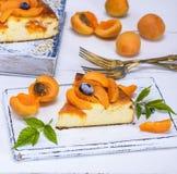 被烘烤的蛋糕从酸奶干酪和杏子的 免版税库存照片