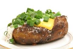 被烘烤的被装载的土豆 库存照片