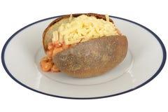 被烘烤的豆和乳酪带皮烤的土豆 图库摄影