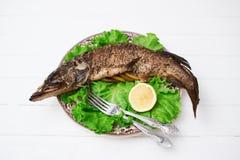 被烘烤的辣鱼绿色frisee 图库摄影