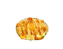 被烘烤的香肠面包 库存照片