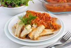 被烘烤的鱼子酱蕃茄蔬菜 图库摄影