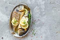 被烘烤的鱼Dorado 海鲷或烤的dorada鱼 免版税库存图片