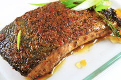 被烘烤的鲑鱼排 图库摄影