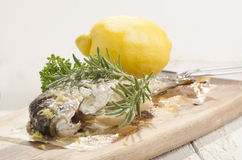 被烘烤的鳟鱼用迷迭香和柠檬 库存照片