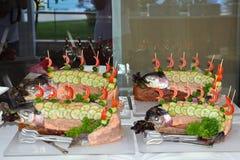 被烘烤的鳟鱼,装饰用黄瓜、葱和红辣椒 免版税图库摄影