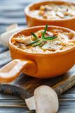 被烘烤的鸡、蘑菇和乳酪在乳脂状的调味汁 图库摄影