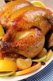 被烘烤的鸡用桔子 免版税库存图片