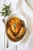 被烘烤的鸡用草本 免版税图库摄影