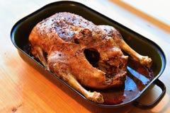 被烘烤的鸭子 从肉、圆白菜和饺子的传统捷克可口盘 午餐在圣诞节期间的一欢乐天 免版税库存照片