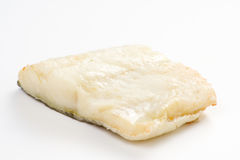 被烘烤的黑色鳕鱼片橄榄蕃茄夏南瓜 库存照片
