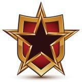 被烙记的金黄几何标志,风格化星 免版税库存照片