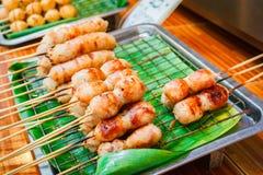 被烤的东部香肠,泰国食物样式 免版税图库摄影