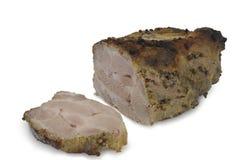 被烤的肉用在白色隔绝的香菜 图库摄影