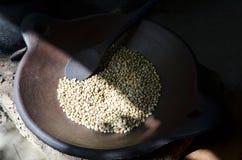被烤的巴厘岛新鲜的咖啡豆 免版税图库摄影