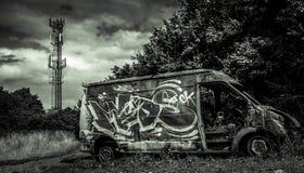 被烧光的搬运车在伯明翰 免版税库存图片