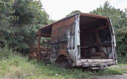 被烧光的搬运车在伯明翰 免版税图库摄影