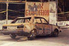 被烧焦的汽车 免版税库存图片