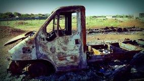 被烧的卡车 免版税库存图片