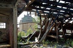 被烧的屋顶 免版税库存图片