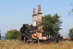 被烧的房子 免版税库存图片